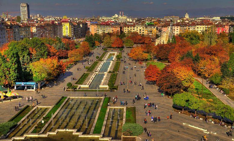 центъра на София изглед от високо през есента