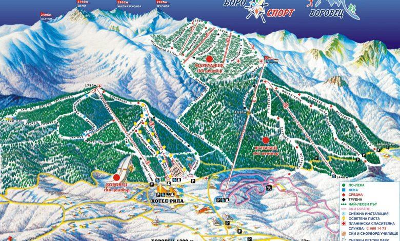 Карта на Боровец със зимните маршрути и писти